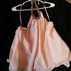 Light pink halter top.